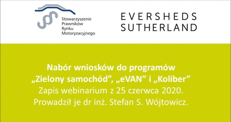 """Zapraszamy do obejrzenia webinarium – programy """"Zielony samochód"""", """"eVAN"""" i """"Koliber"""""""